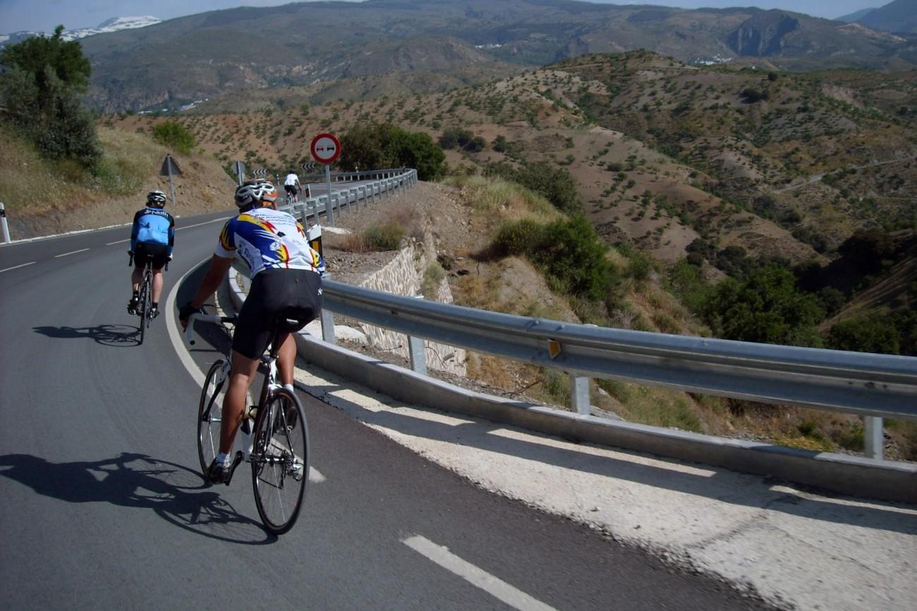 Cyclists defending the mountain climb